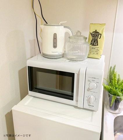 冷蔵庫、電子レンジ、電気ケトル