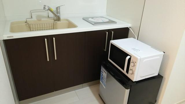IHコンロ、電子レンジ、ミニ冷蔵庫、空気清浄機(加湿付)