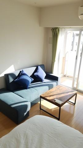 2人掛けのソファベッドもご用意してございます。(新品)