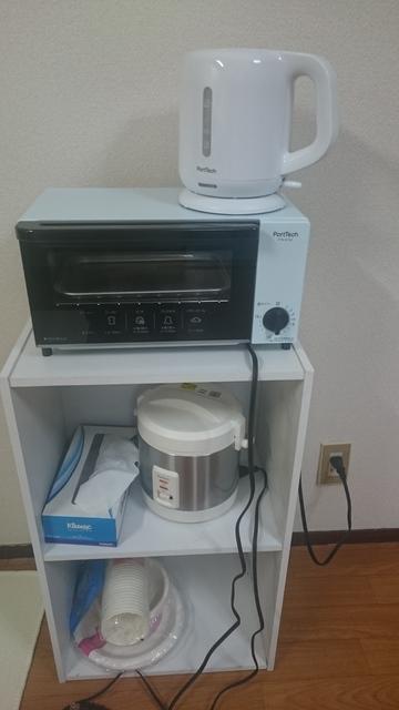オーブン、炊飯器、湯沸ポット、ご用意しました