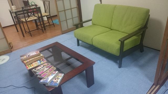 お寛ぎソファーはこんな感じ。座り心地いいですよ