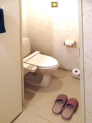 独立トイレ、温水洗浄便座