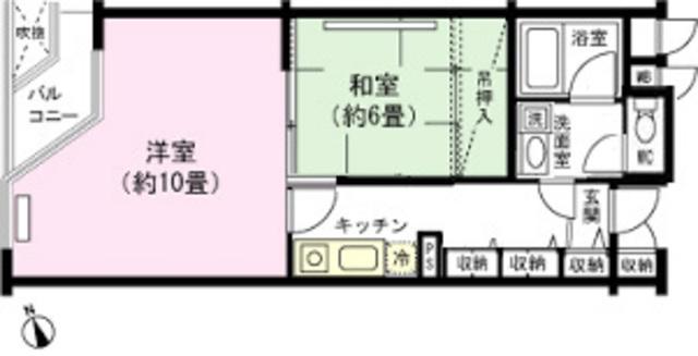 2K、和室6畳、洋室10畳、ミニキッチン、バス・トイレ別