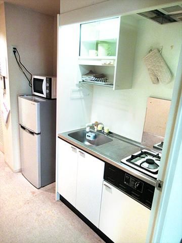 ミニキッチン、冷蔵庫、電子レンジ