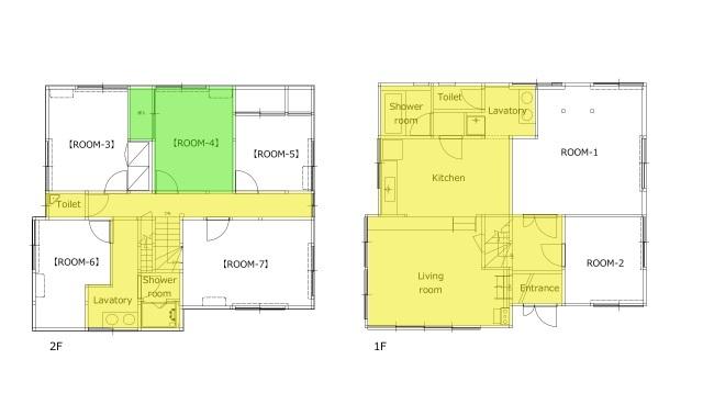 緑色部分が専用スペース、黄色部分は共用スペースとなります。