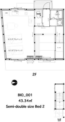 寝室とキッチン、洗面がコンパクトにまとまったステューディオ。