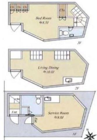2階3階部分のみご参照ください。